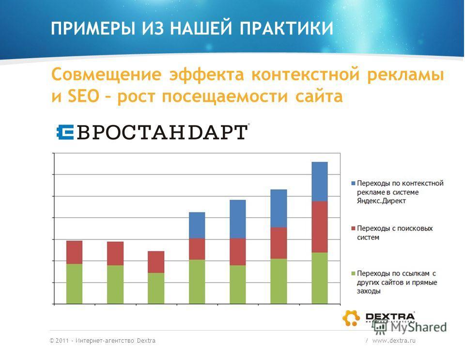 ПРИМЕРЫ ИЗ НАШЕЙ ПРАКТИКИ © 2011 – Интернет-агентство Dextra / www.dextra.ru Совмещение эффекта контекстной рекламы и SEO – рост посещаемости сайта