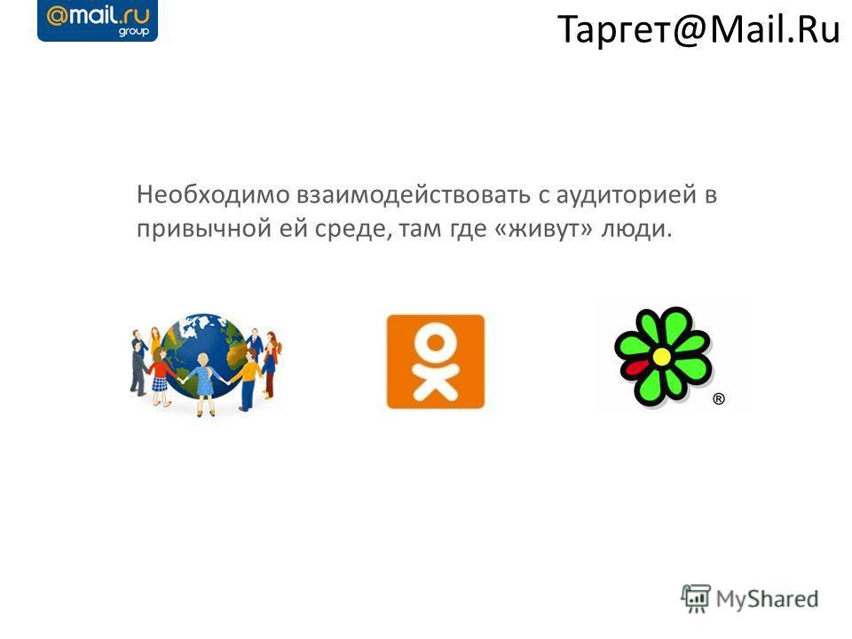 Таргет@Mail.Ru Необходимо взаимодействовать с аудиторией в привычной ей среде, там где «живут» люди.