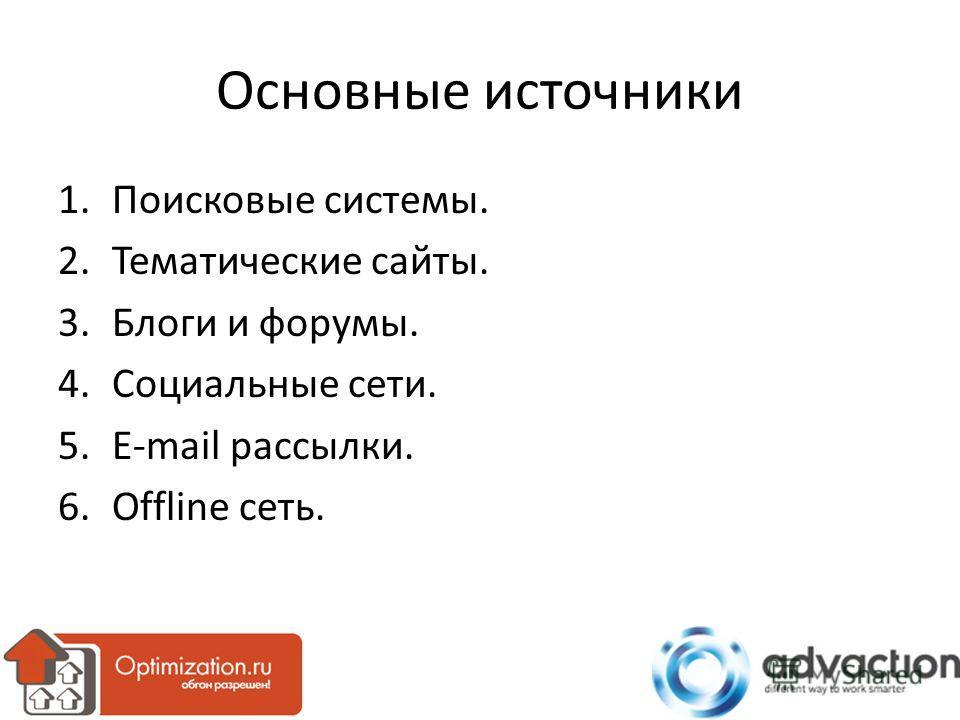 Основные источники 1.Поисковые системы. 2.Тематические сайты. 3.Блоги и форумы. 4.Социальные сети. 5.E-mail рассылки. 6.Offline сеть.