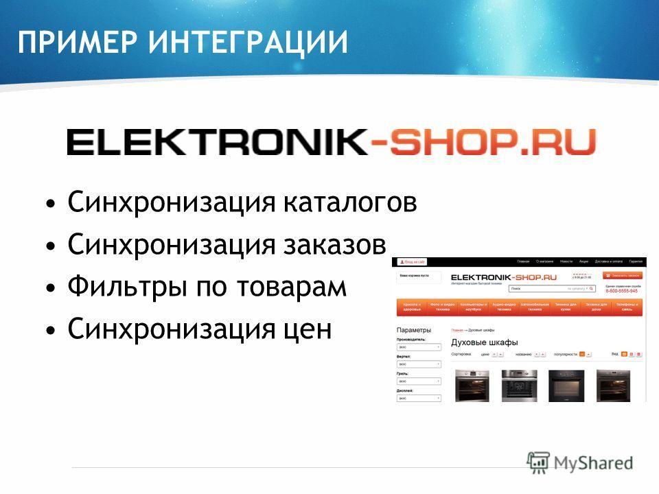 ПРИМЕР ИНТЕГРАЦИИ Синхронизация каталогов Синхронизация заказов Фильтры по товарам Синхронизация цен