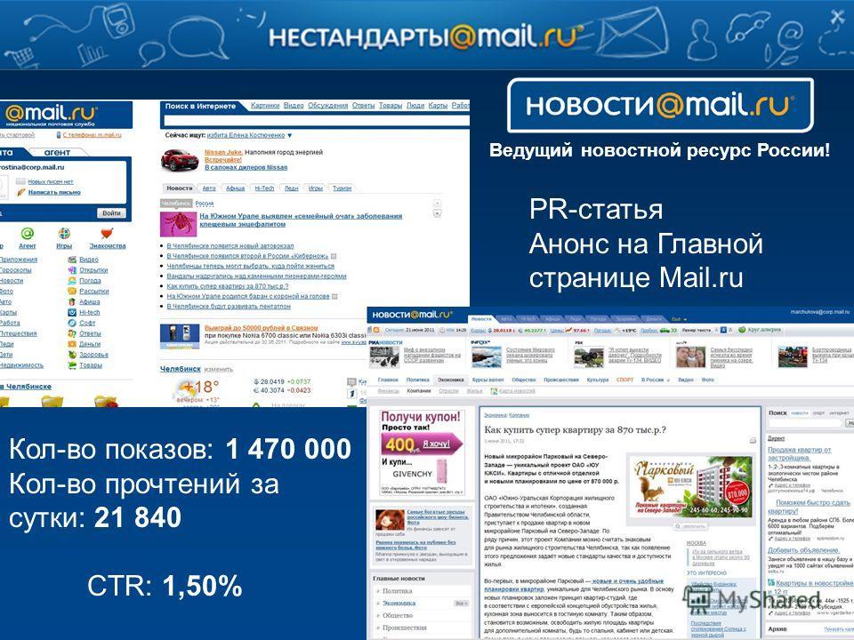 Ведущий новостной ресурс России! Кол-во показов: 1 470 000 Кол-во прочтений за сутки: 21 840 CTR: 1,50% PR-статья Анонс на Главной странице Mail.ru