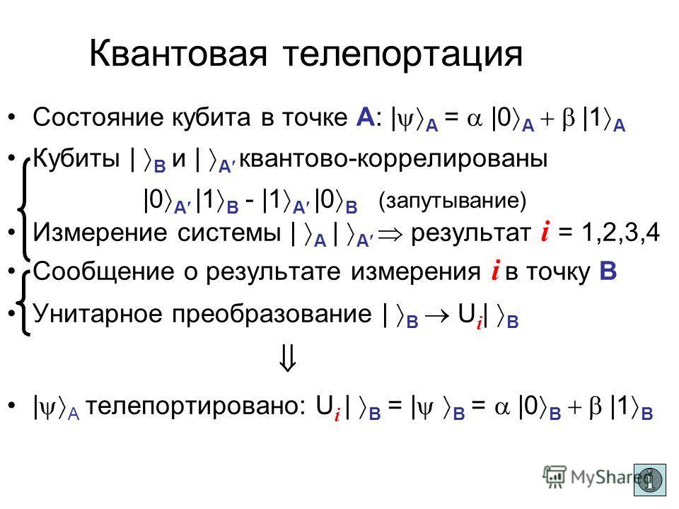 Квантовая телепортация Для корреляции не требуется времени (сформирована заранее) Данные передаются со скоростью света AB | A = |0 |1 | B | A Измер. Кв.корреляция (запутывание) Результат измерения i U i | B = | B