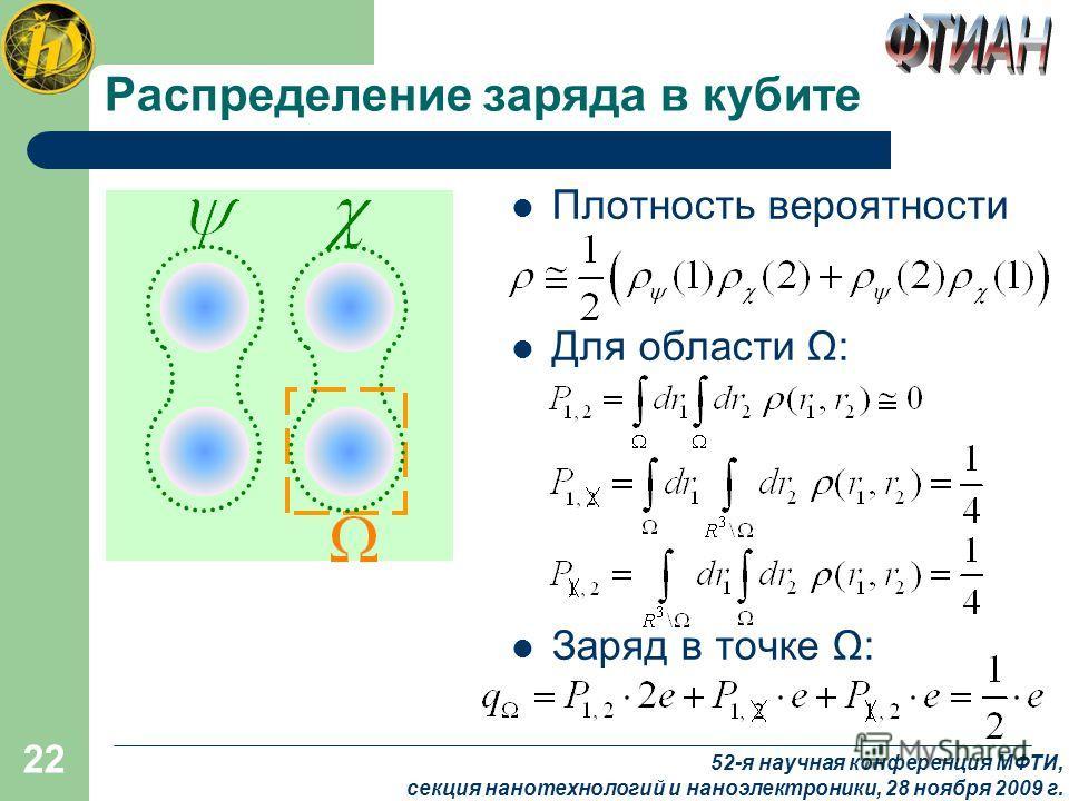22 Распределение заряда в кубите Плотность вероятности Для области Ω: Заряд в точке Ω: 52-я научная конференция МФТИ, секция нанотехнологий и наноэлектроники, 28 ноября 2009 г.