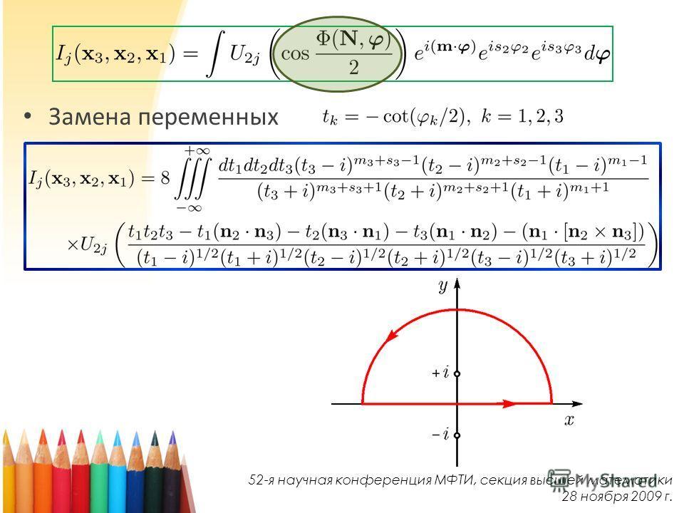 Замена переменных 52-я научная конференция МФТИ, секция высшей математики 28 ноября 2009 г.