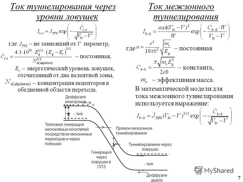 7 Ток туннелирования через уровни ловушек где – не зависящий от параметр, – постоянная, – энергетический уровень ловушек, отсчитанный от дна валентной зоны, – концентрация акцепторов в обедненной области перехода. Ток межзонного туннелирования где –