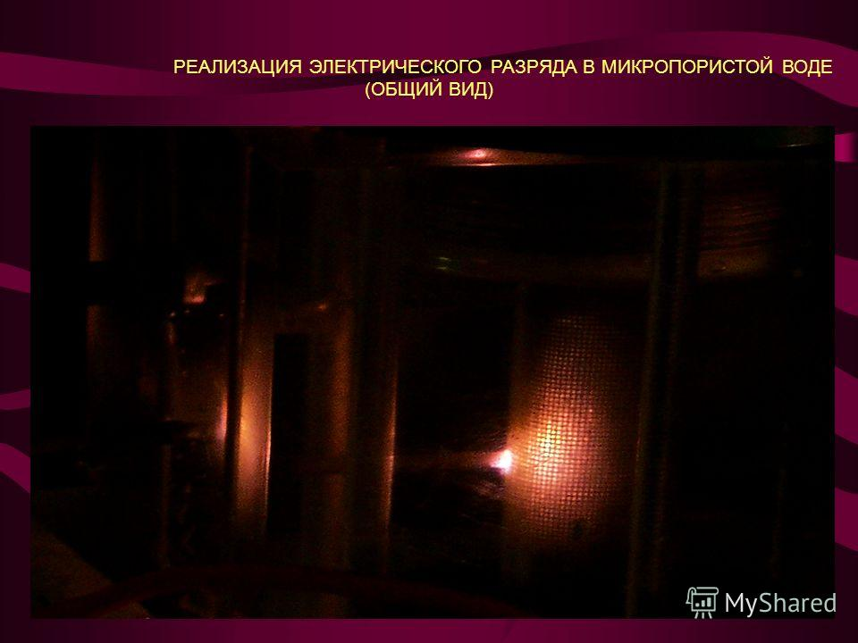 РЕАЛИЗАЦИЯ ЭЛЕКТРИЧЕСКОГО РАЗРЯДА В МИКРОПОРИСТОЙ ВОДЕ (ОБЩИЙ ВИД)