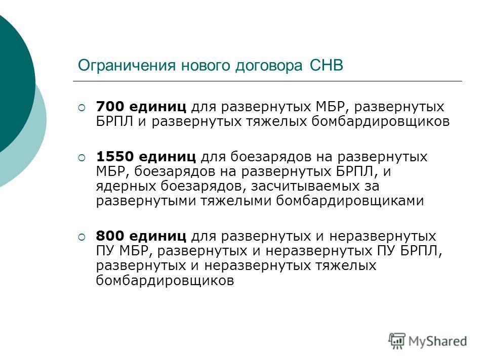 Ограничения нового договора СНВ 700 единиц для развернутых МБР, развернутых БРПЛ и развернутых тяжелых бомбардировщиков 1550 единиц для боезарядов на развернутых МБР, боезарядов на развернутых БРПЛ, и ядерных боезарядов, засчитываемых за развернутыми