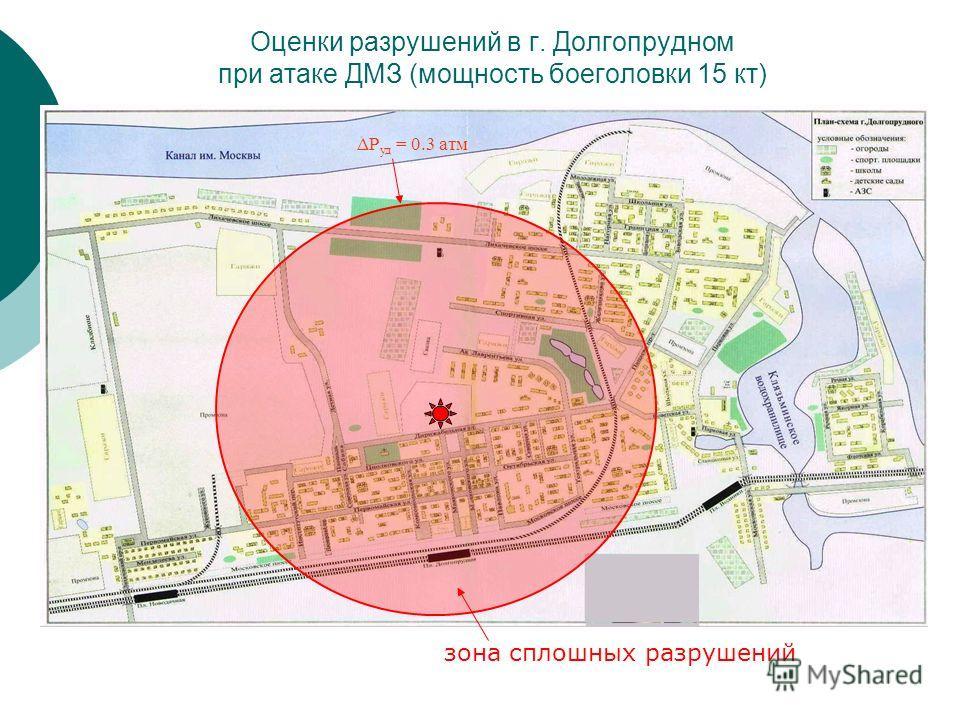 Оценки разрушений в г. Долгопрудном при атаке ДМЗ (мощность боеголовки 15 кт) ΔP уд = 0.3 атм зона сплошных разрушений
