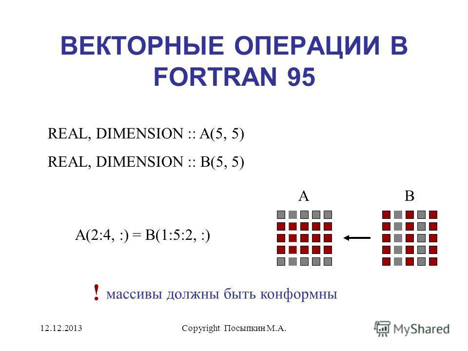 12.12.2013Copyright Посыпкин М.А. ВЕКТОРНЫЕ ОПЕРАЦИИ В FORTRAN 95 REAL, DIMENSION :: A(5, 5) REAL, DIMENSION :: B(5, 5) A(2:4, :) = B(1:5:2, :) AB массивы должны быть конформны !