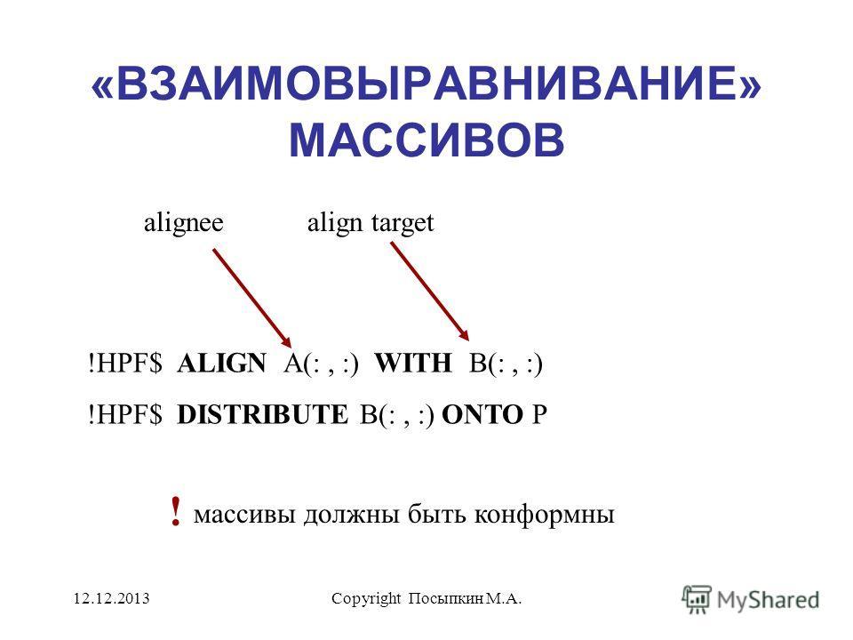 12.12.2013Copyright Посыпкин М.А. «ВЗАИМОВЫРАВНИВАНИЕ» МАССИВОВ !HPF$ ALIGN A(:, :) WITH B(:, :) !HPF$ DISTRIBUTE B(:, :) ONTO P aligneealign target массивы должны быть конформны !