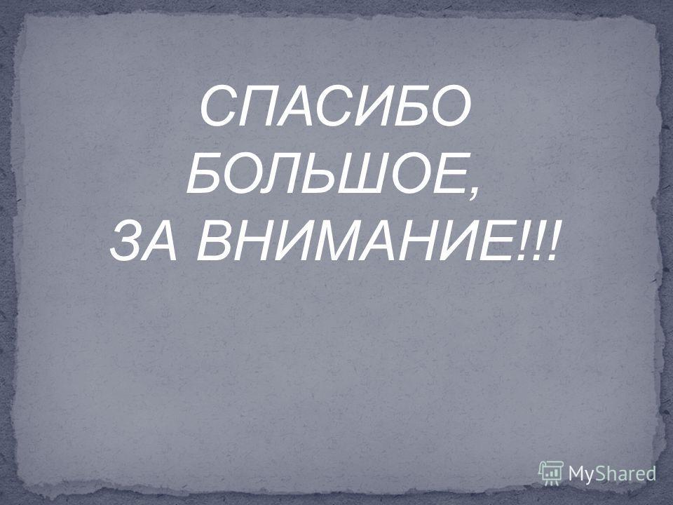 СПАСИБО БОЛЬШОЕ, ЗА ВНИМАНИЕ!!!