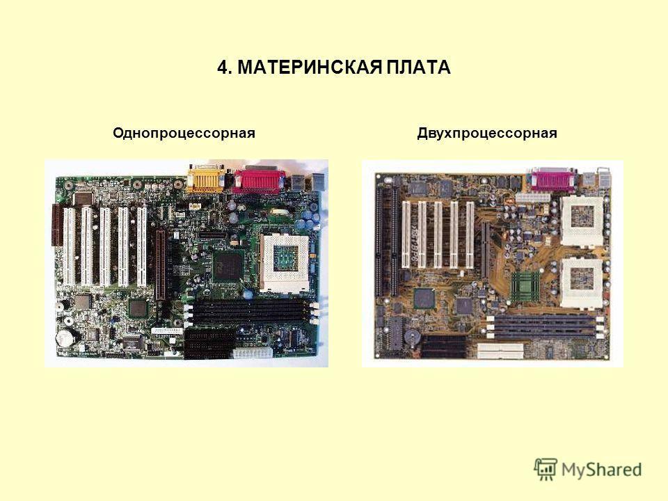 Однопроцессорная Двухпроцессорная 4. МАТЕРИНСКАЯ ПЛАТА