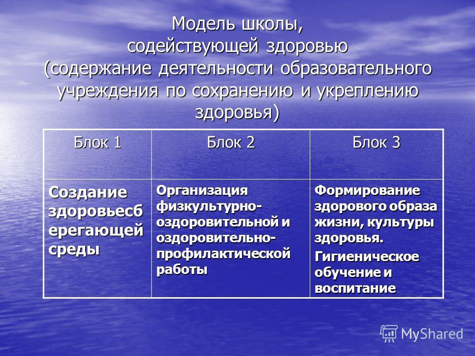 Модель школы, содействующей здоровью (содержание деятельности образовательного учреждения по сохранению и укреплению здоровья) Блок 1 Блок 2 Блок 3 Создание здоровьесб ерегающей среды Организация физкультурно- оздоровительной и оздоровительно- профил