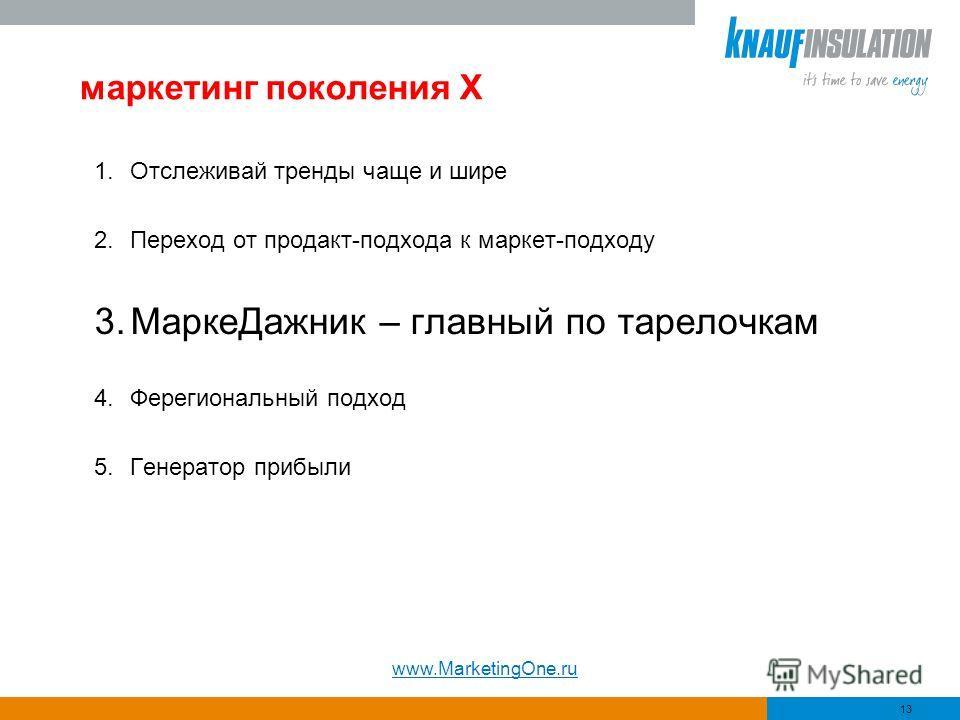 маркетинг поколения Х 1.Отслеживай тренды чаще и шире 2.Переход от продакт-подхода к маркет-подходу 3.МаркеДажник – главный по тарелочкам 4.Ферегиональный подход 5.Генератор прибыли 13 www.MarketingOne.ru