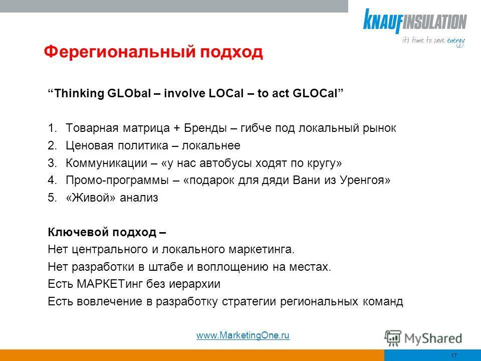 Ферегиональный подход Thinking GLObal – involve LOCal – to act GLOCal 1.Товарная матрица + Бренды – гибче под локальный рынок 2.Ценовая политика – локальнее 3.Коммуникации – «у нас автобусы ходят по кругу» 4.Промо-программы – «подарок для дяди Вани и