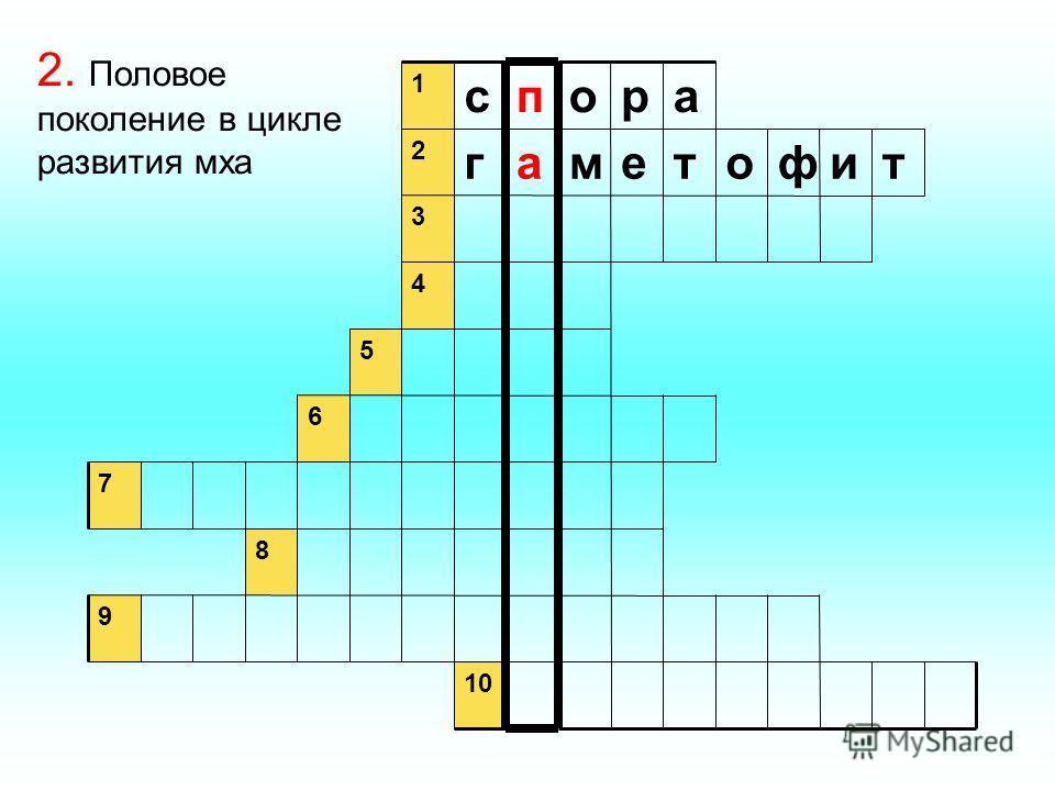 9 8 7 6 5 4 3 тифотемаг 2 аропс 1 2. Половое поколение в цикле развития мха