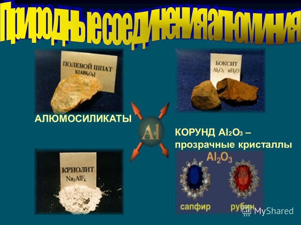 КОРУНД Al 2 O 3 – прозрачные кристаллы АЛЮМОСИЛИКАТЫ