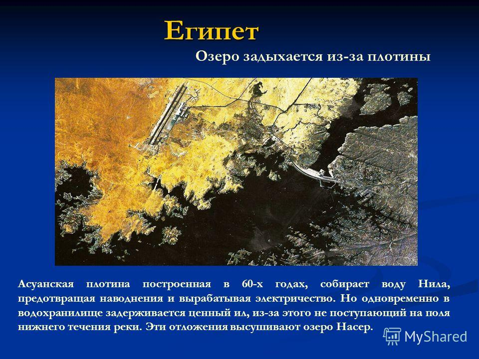Египет Озеро задыхается из-за плотины Асуанская плотина построенная в 60-х годах, собирает воду Нила, предотвращая наводнения и вырабатывая электричество. Но одновременно в водохранилище задерживается ценный ил, из-за этого не поступающий на поля ниж