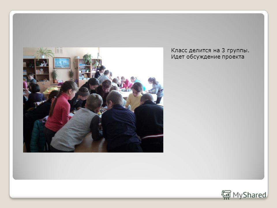 Класс делится на 3 группы. Идет обсуждение проекта