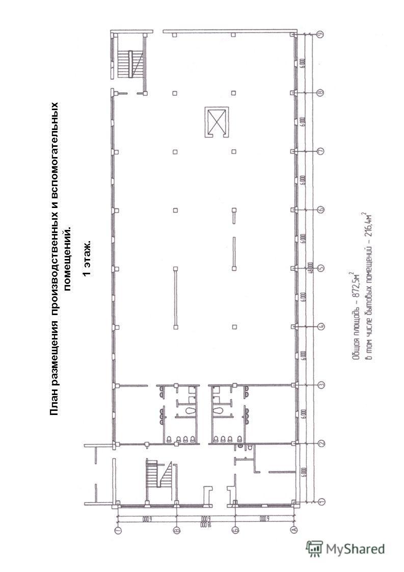 План размещения производственных и вспомогательных помещений. 1 этаж.