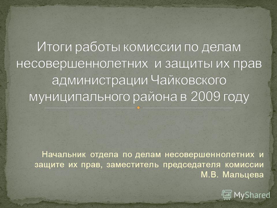 Начальник отдела по делам несовершеннолетних и защите их прав, заместитель председателя комиссии М.В. Мальцева