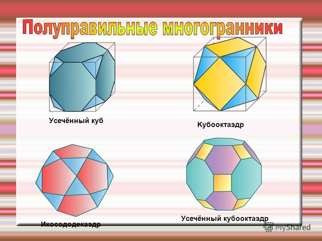 Уcечённый куб Kубооктaэдр Икоcододекaэдр Уcечённый кубооктaэдр