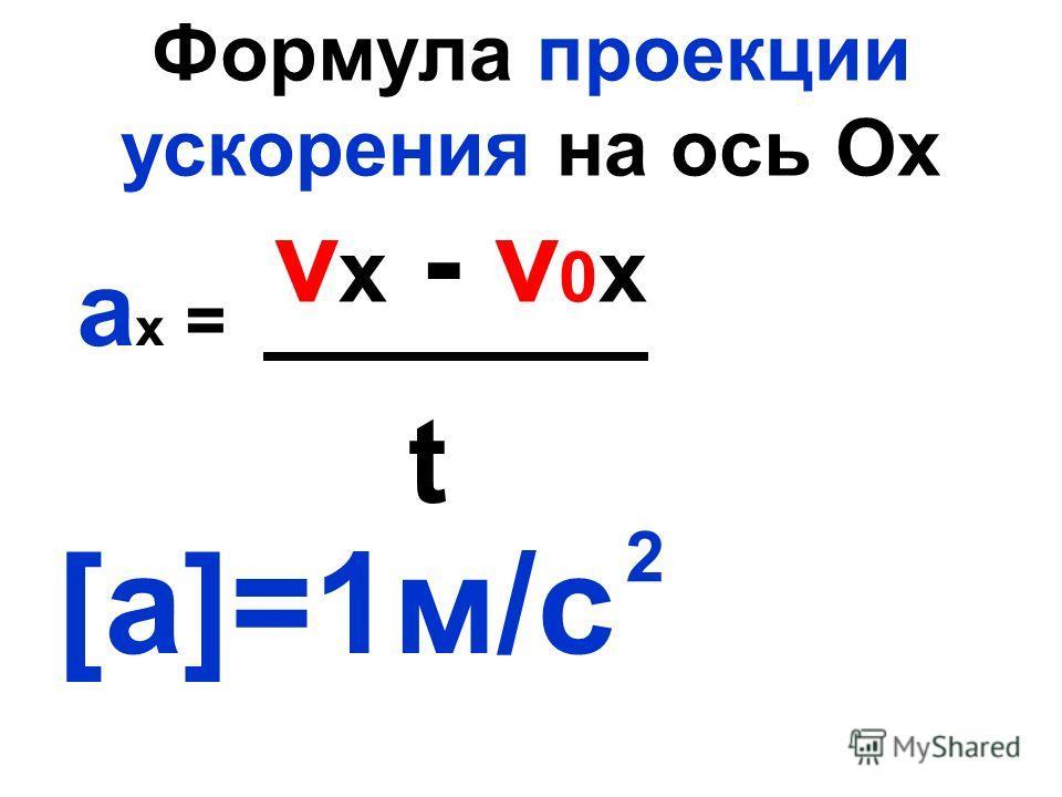 Формула проекции ускорения на ось Ох а х = [a]=1м/с v x - v 0 x t 2