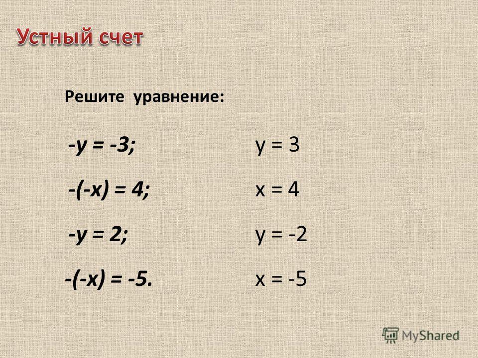 Решите уравнение: -у = -3; -(-х) = 4; -у = 2; -(-х) = -5. у = 3 х = 4 у = -2 х = -5