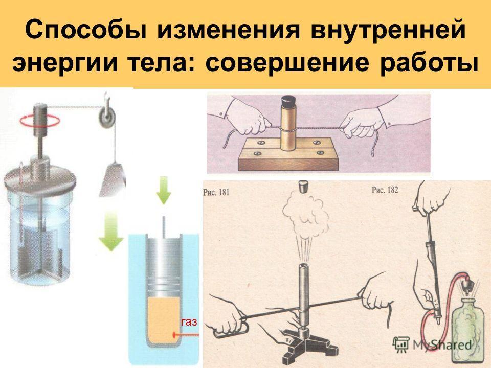 Способы изменения внутренней энергии тела: совершение работы газ