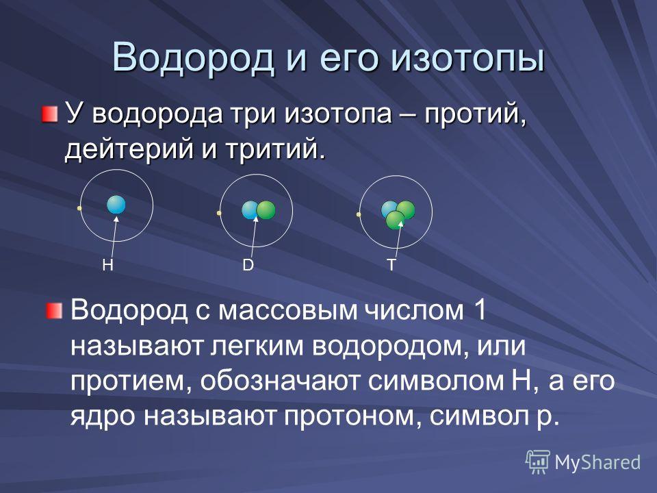 Водород и его изотопы У водорода три изотопа – протий, дейтерий и тритий. HDT Водород с массовым числом 1 называют легким водородом, или протием, обозначают символом Н, а его ядро называют протоном, символ р.
