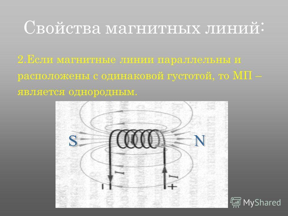 Свойства магнитных линий: 2.Если магнитные линии параллельны и расположены с одинаковой густотой, то МП – является однородным.
