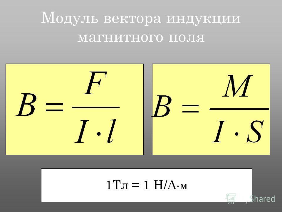 Модуль вектора индукции магнитного поля 1Тл = 1 Н/А м