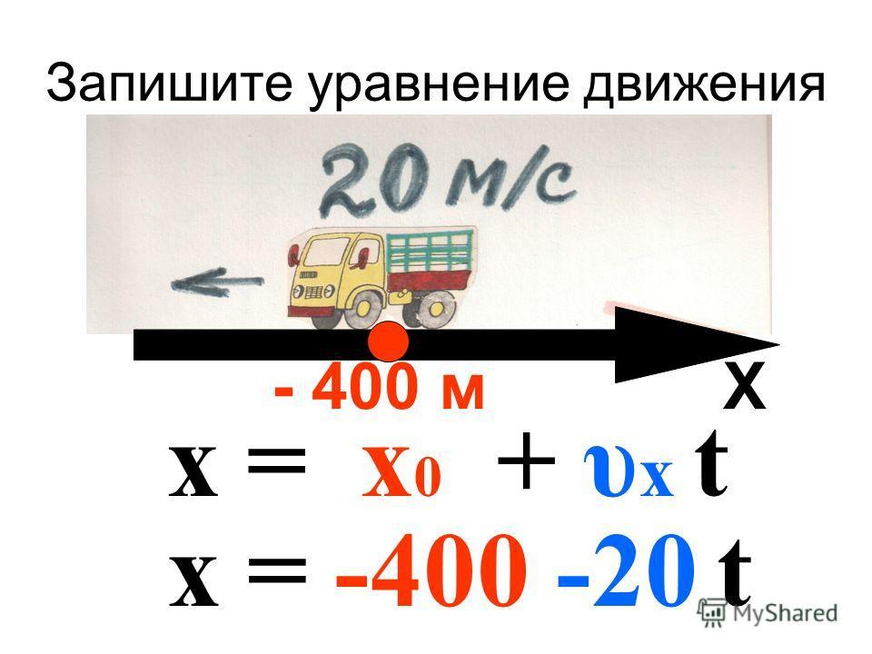 Запишите уравнение движения - 400 м Х х = х 0 + υ х t х = -400 -20 t