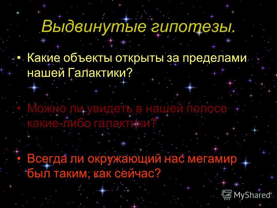 Выдвинутые гипотезы. Какие объекты открыты за пределами нашей Галактики? Можно ли увидеть в нашей полосе какие-либо галактики? Всегда ли окружающий нас мегамир был таким, как сейчас?