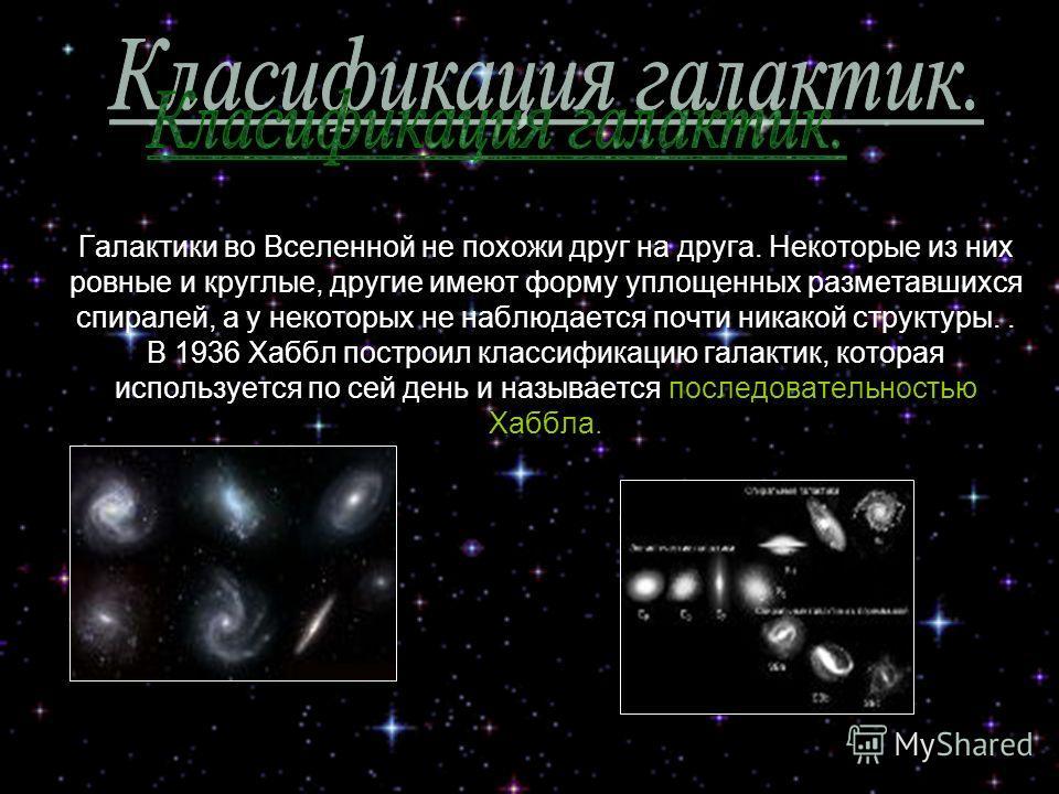 Галактики во Вселенной не похожи друг на друга. Некоторые из них ровные и круглые, другие имеют форму уплощенных разметавшихся спиралей, а у некоторых не наблюдается почти никакой структуры.. В 1936 Хаббл построил классификацию галактик, которая испо
