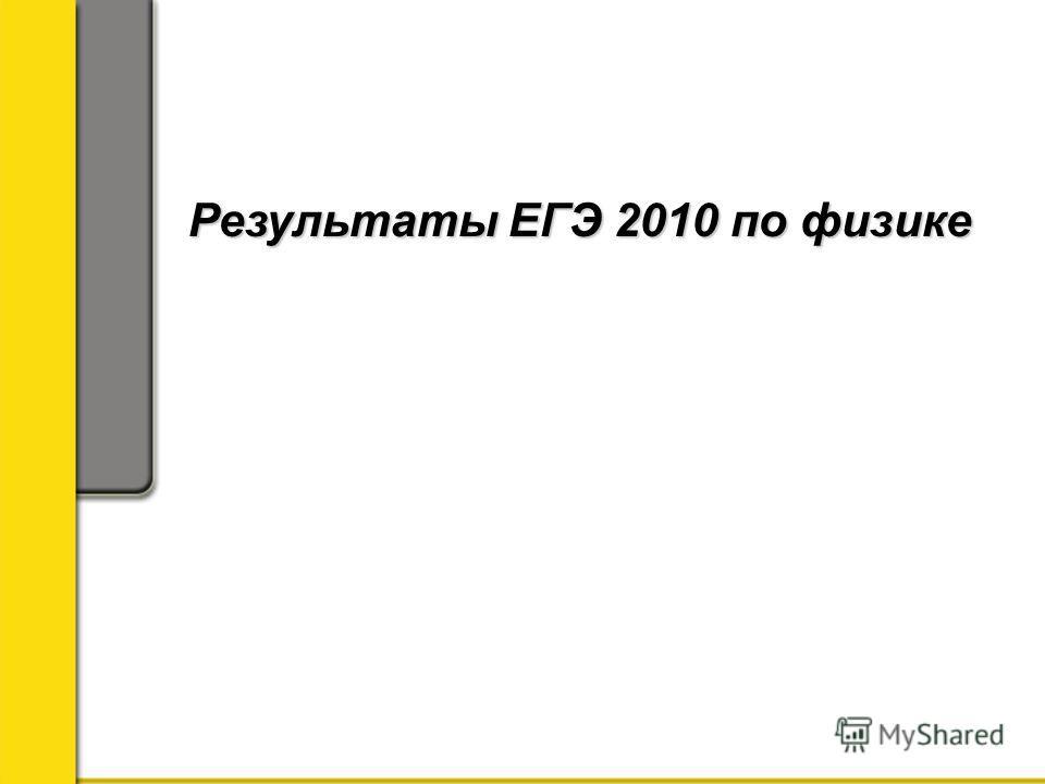 Результаты ЕГЭ 2010 по физике