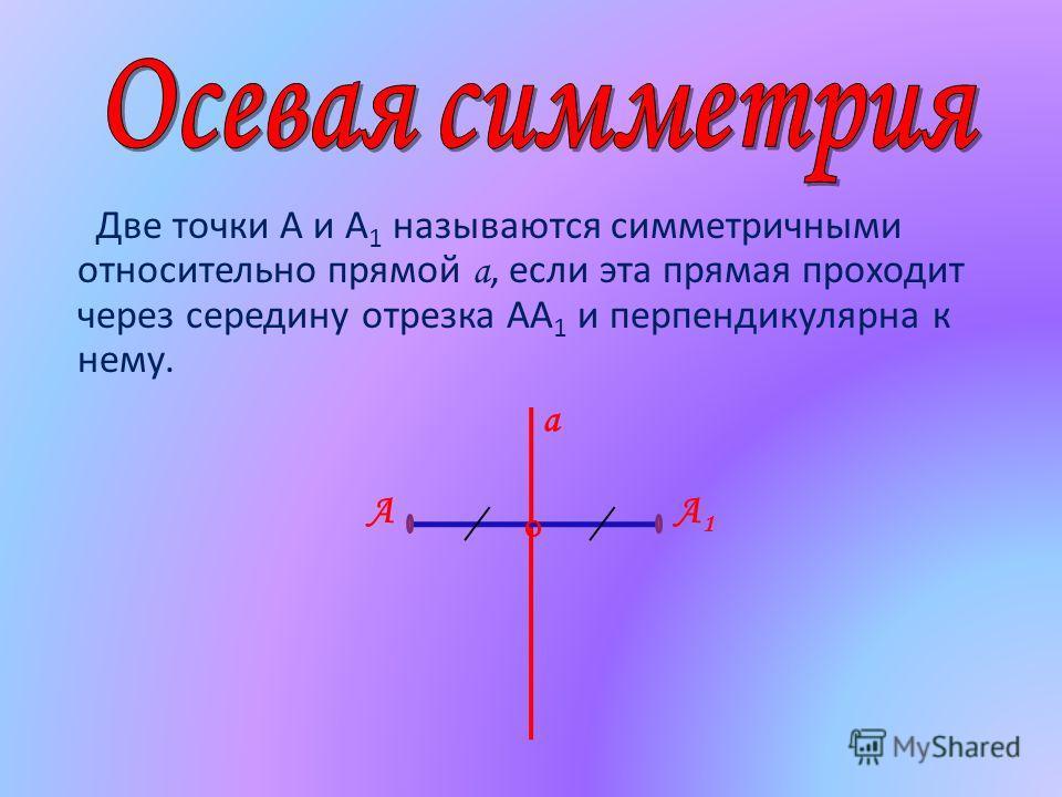 Две точки А и А 1 называются симметричными относительно прямой а, если эта прямая проходит через середину отрезка АА 1 и перпендикулярна к нему. АА1А1 О а