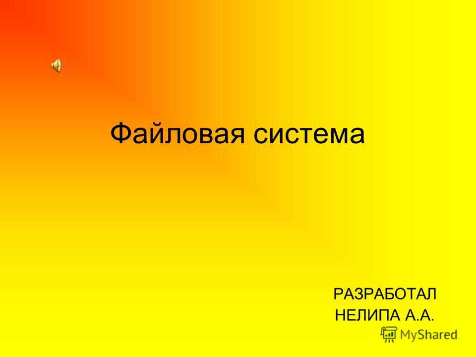 Файловая система РАЗРАБОТАЛ НЕЛИПА А.А.