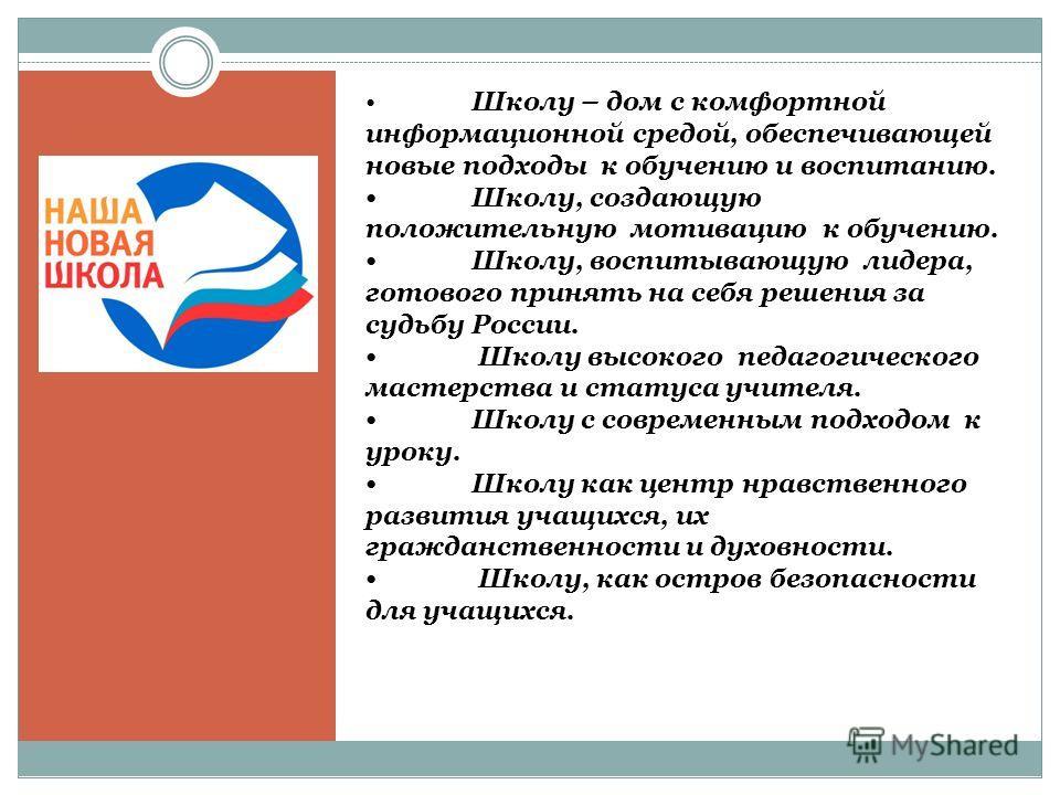 Школу – дом с комфортной информационной средой, обеспечивающей новые подходы к обучению и воспитанию. Школу, создающую положительную мотивацию к обучению. Школу, воспитывающую лидера, готового принять на себя решения за судьбу России. Школу высокого
