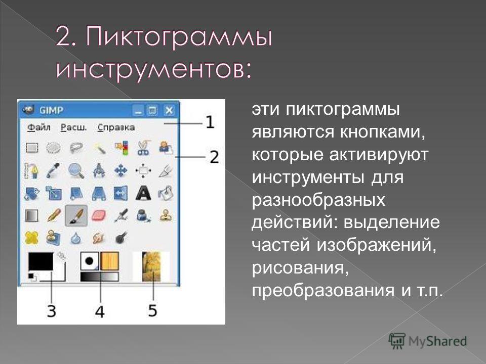 эти пиктограммы являются кнопками, которые активируют инструменты для разнообразных действий: выделение частей изображений, рисования, преобразования и т.п.