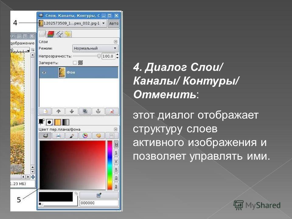 4. Диалог Слои/ Каналы/ Контуры/ Отменить: этот диалог отображает структуру слоев активного изображения и позволяет управлять ими.
