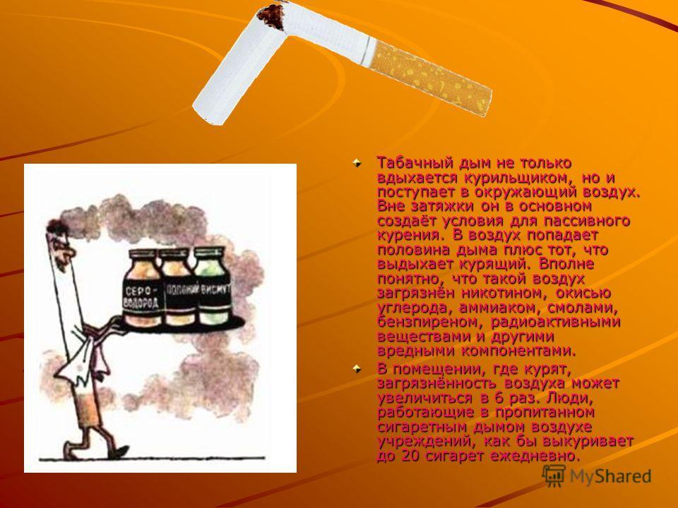 Табачный дым не только вдыхается курильщиком, но и поступает в окружающий воздух. Вне затяжки он в основном создаёт условия для пассивного курения. В воздух попадает половина дыма плюс тот, что выдыхает курящий. Вполне понятно, что такой воздух загря