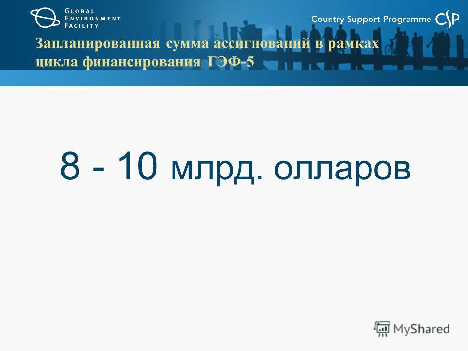 Запланированная сумма ассигнований в рамках цикла финансирования ГЭФ-5 8 - 10 млрд. олларов