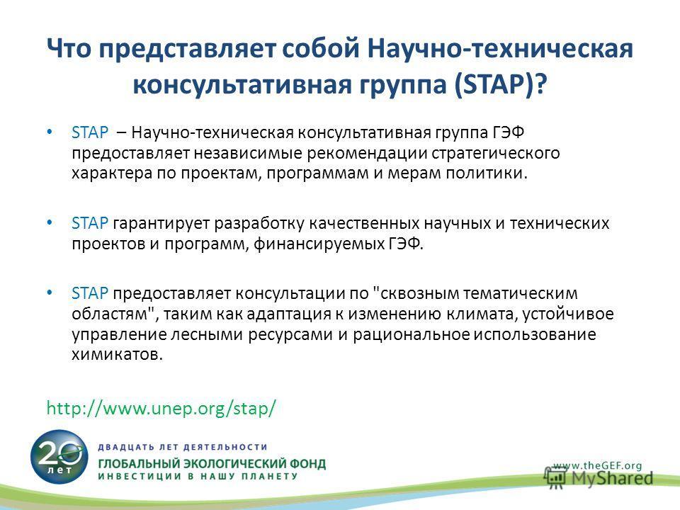 Что представляет собой Научно-техническая консультативная группа (STAP)? STAP – Научно-техническая консультативная группа ГЭФ предоставляет независимые рекомендации стратегического характера по проектам, программам и мерам политики. STAP гарантирует