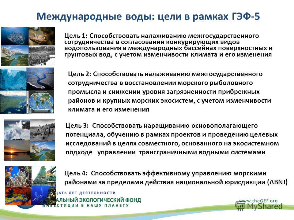Международныe воды: цели в рамках ГЭФ-5 Цель 1: Способствовать налаживанию межгосударственного сотрудничества в согласовании конкурирующих видов водопользования в международных бассейнах поверхностных и грунтовых вод, с учетом изменчивости климата и