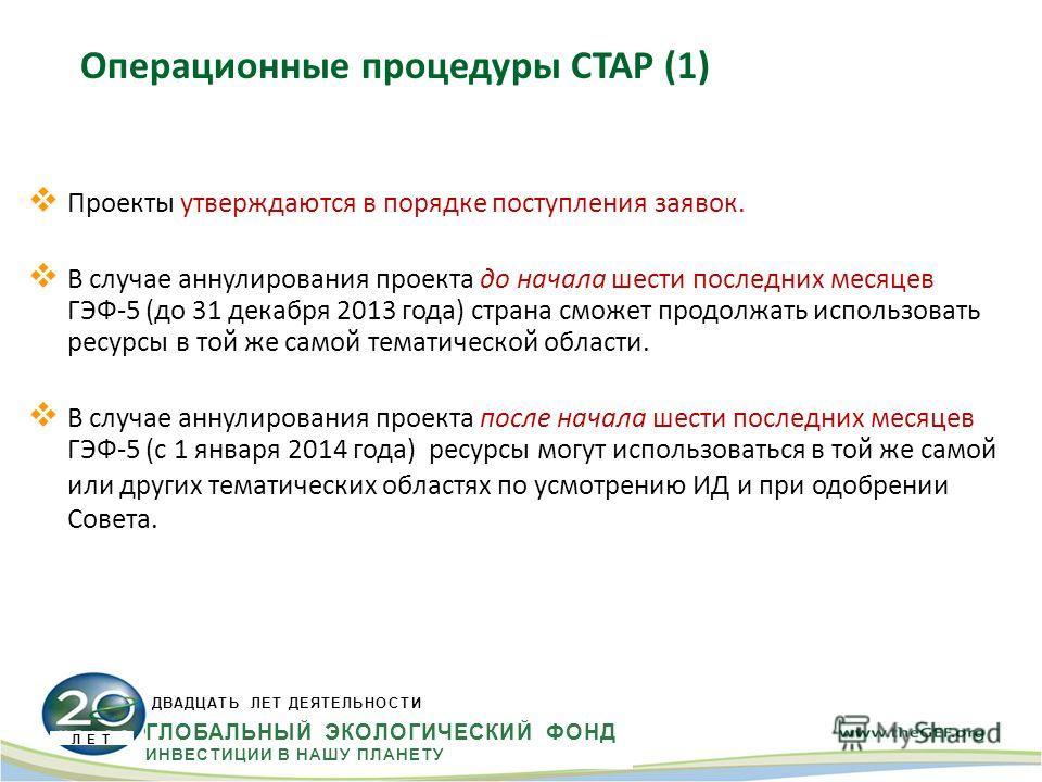 Проекты утверждаются в порядке поступления заявок. В случае аннулирования проекта до начала шести последних месяцев ГЭФ-5 (до 31 декабря 2013 года) страна сможет продолжать использовать ресурсы в той же самой тематической области. В случае аннулирова