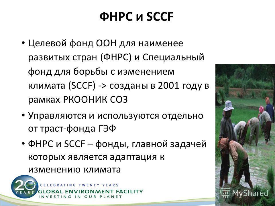 ФНРС и SCCF Целевой фонд ООН для наименее развитых стран (ФНРС) и Специальный фонд для борьбы с изменением климата (SCCF) -> созданы в 2001 году в рамках РКООНИК СОЗ Управляются и используются отдельно от траст-фонда ГЭФ ФНРС и SCCF – фонды, главной