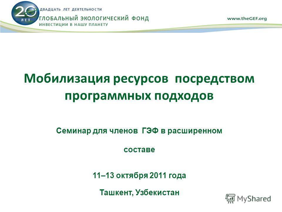 Мобилизация ресурсов посредством программных подходов Семинар для членов ГЭФ в расширенном составе 11–13 октября 2011 года Ташкент, Узбекистан Л Е Т ДВАДЦАТЬ ЛЕТ ДЕЯТЕЛЬНОСТИ ГЛОБАЛЬНЫЙ ЭКОЛОГИЧЕСКИЙ ФОНД ИНВЕСТИЦИИ В НАШУ ПЛАНЕТУ
