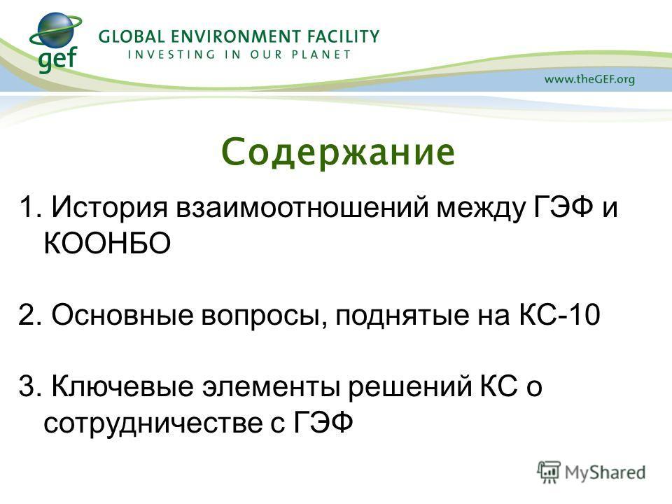 Содержание 1. История взаимоотношений между ГЭФ и КООНБО 2. Основные вопросы, поднятые на КС-10 3. Ключевые элементы решений КС о сотрудничестве с ГЭФ