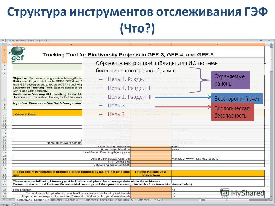 Образец электронной таблицы для ИО по теме биологического разнообразия: – Цель 1. Раздел I – Цель 1. Раздел II – Цель 1. Раздел III – Цель 2. – Цель 3. Образец электронной таблицы для ИО по теме биологического разнообразия: – Цель 1. Раздел I – Цель